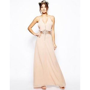 ASOS Petite Jarlo Lace Peach Dress size 2